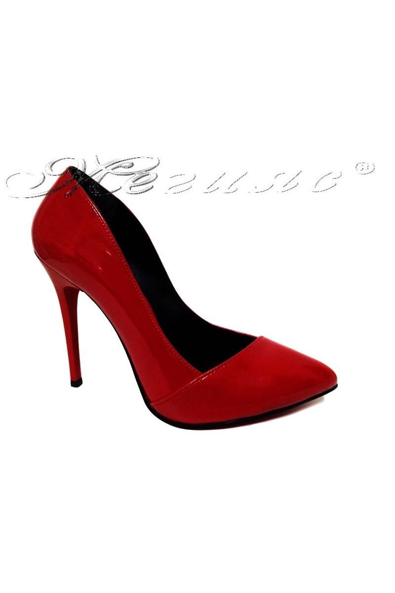 Дамски обувки 1911 червени лак остри висок ток еко кожа