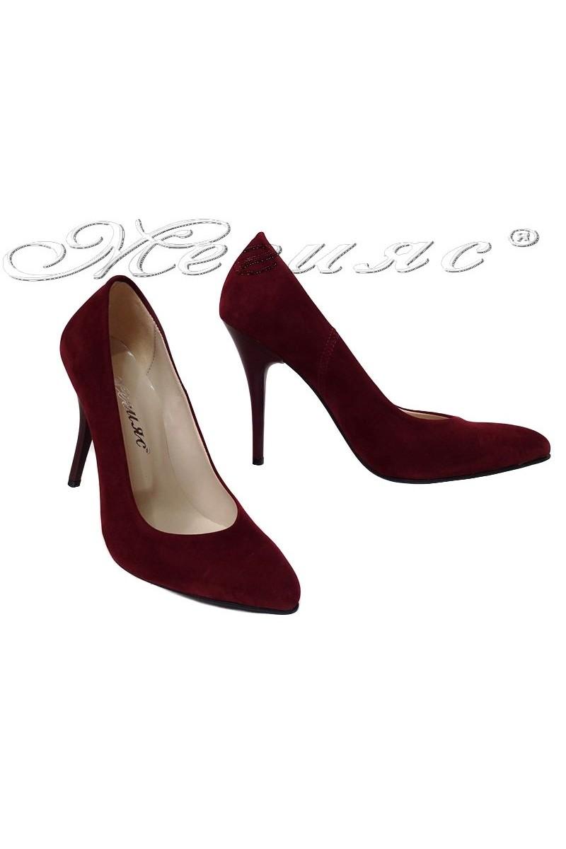 Дамски обувки 162 бордо набук елегантни остри висок ток