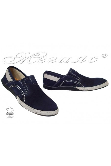 Men shoes 10239 blue suede leather