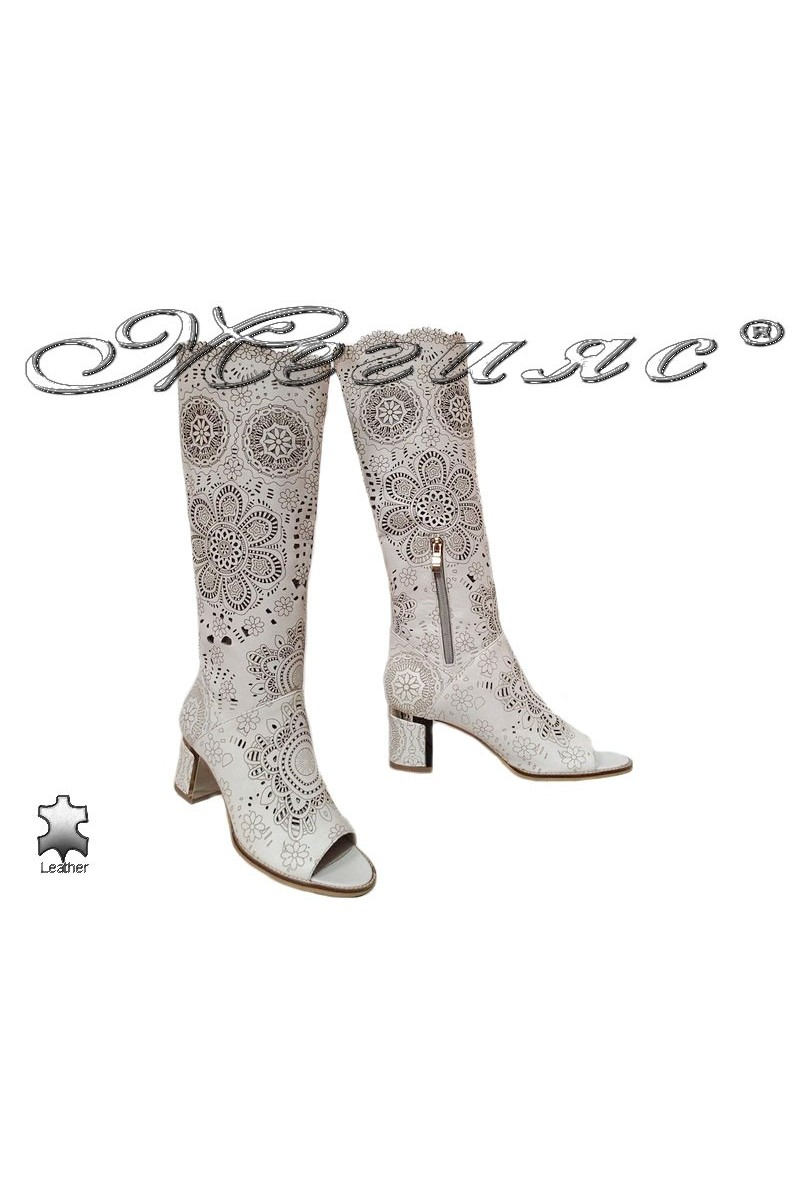 Lady middle heel summer boot 2106 beige all leather
