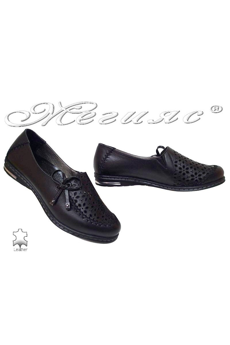 Дамски обувки 267/16 черни естествена кожа ежедневни ниско ходило