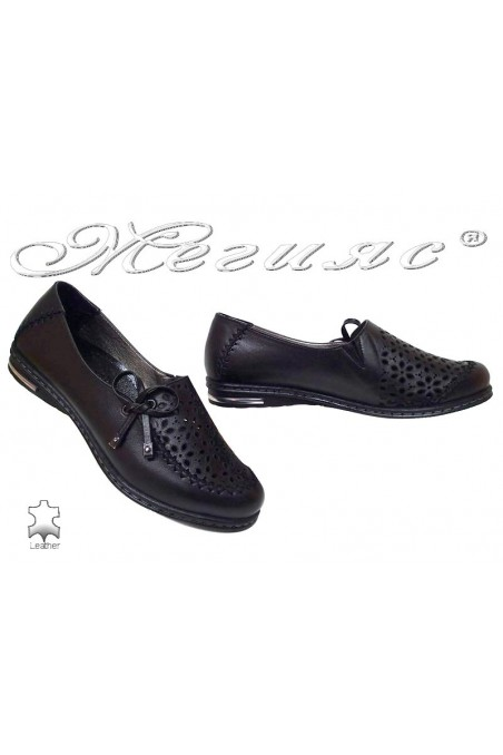 Women flat heel shoes 267/16 casual black all leather