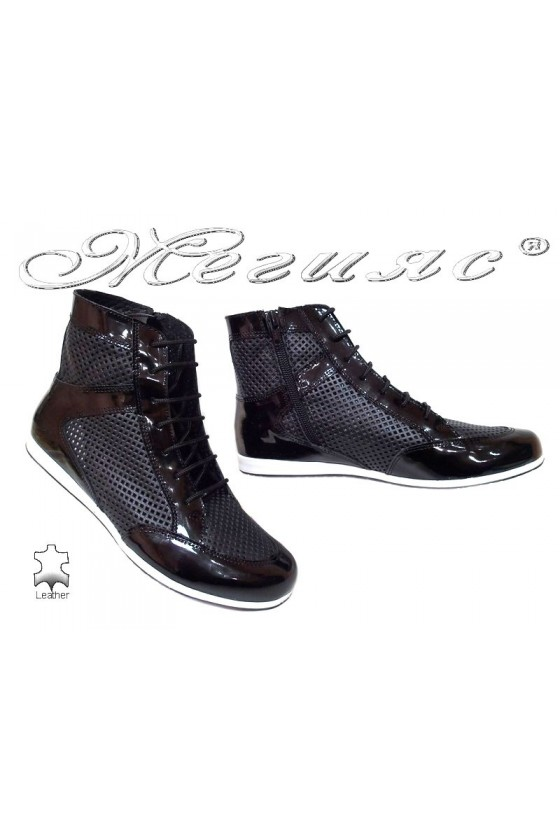 Women sport boots 1582 casual black all leather+patent