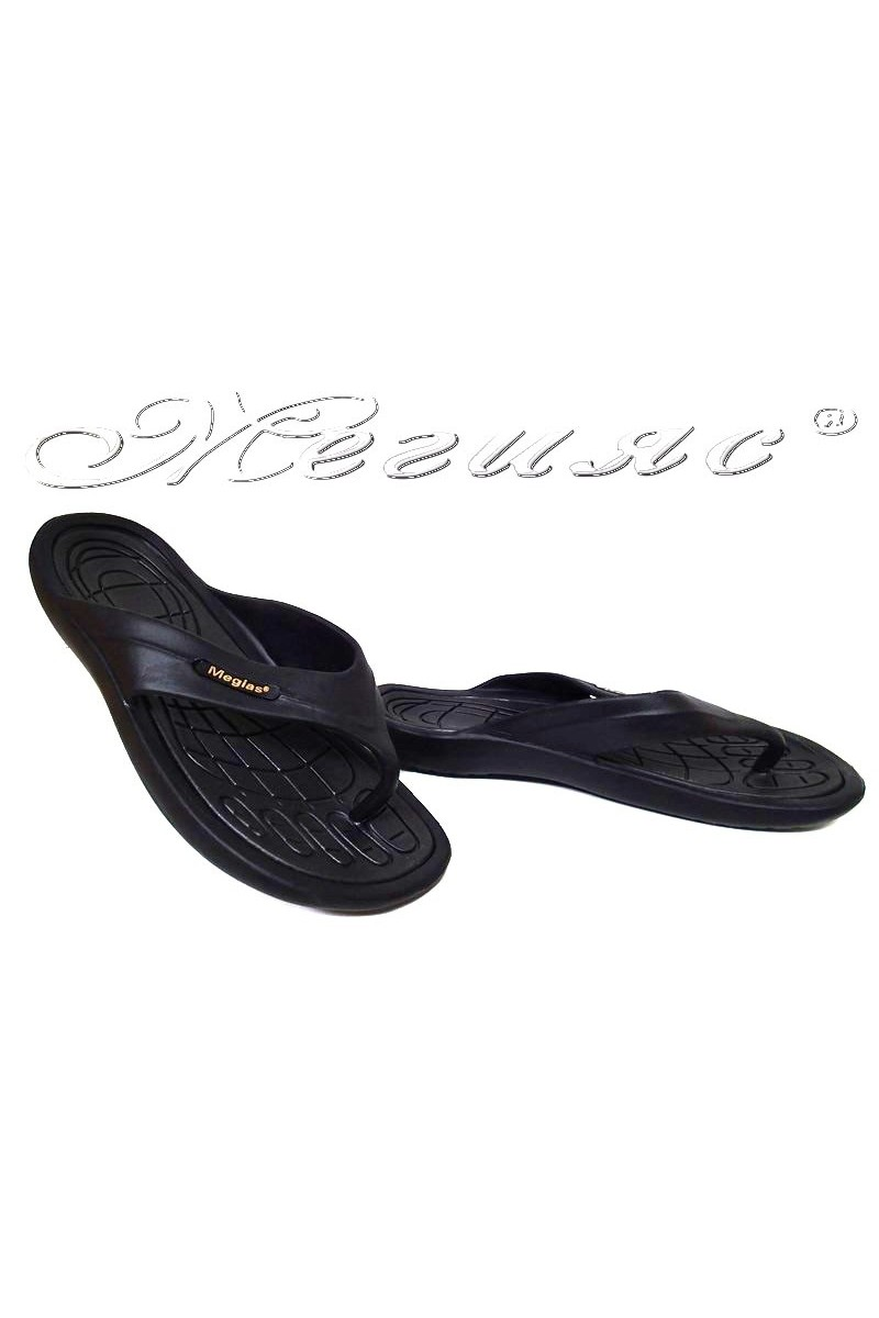 Men thongs 444 casual black caoutchouc