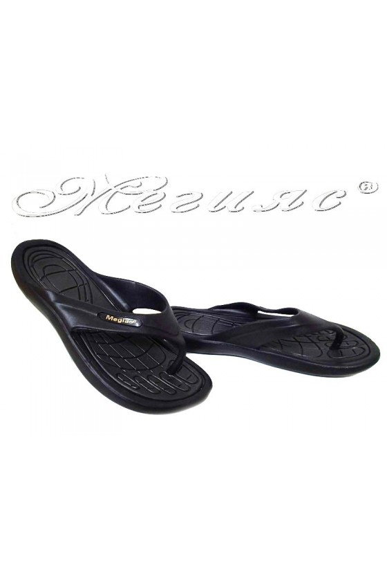 Women thongs 333 casual black caoutchouc