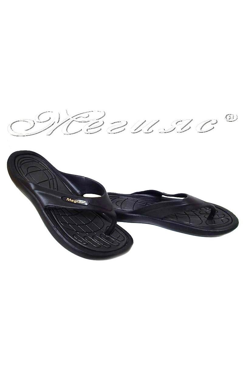 Women thongs 333 casual black caoutchouc