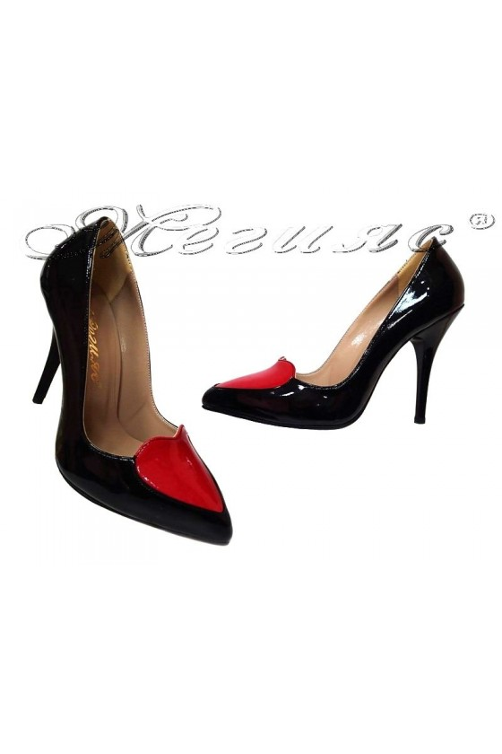 Дамски обувки 1863 черни+червено сърце лак  остри елегантни висок ток