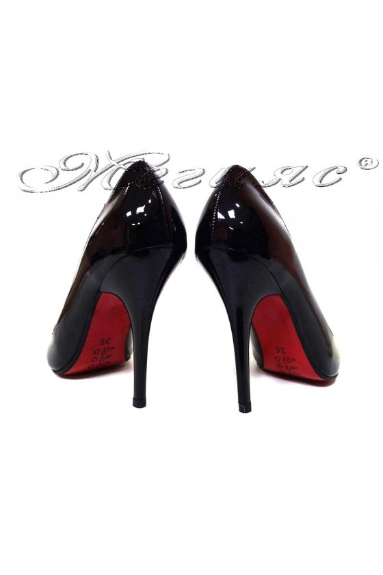 Women elegant shoes 1863 black+red patent high heel