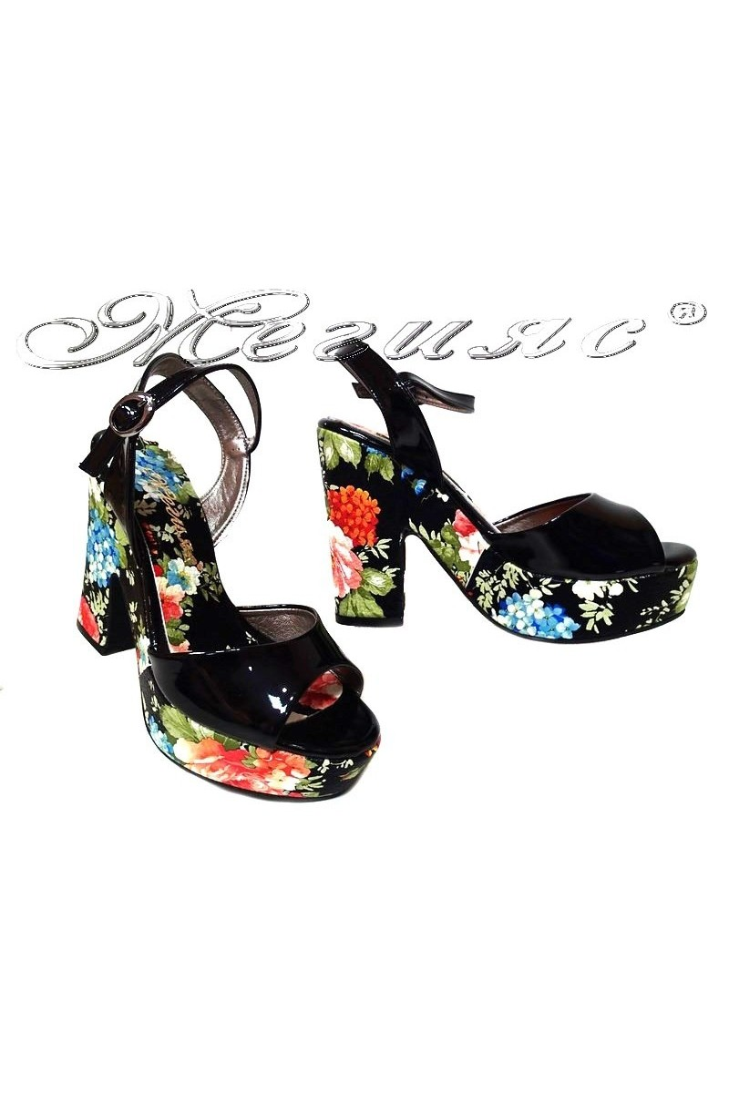 Ladies high heel sandals 938 elegant black flowers pu patent