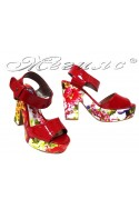 Ladies elegant sandals 984 red flowers pu+patent high heel