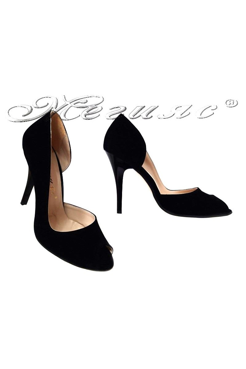 Women elegant shoes 606 black suede elegant high heel