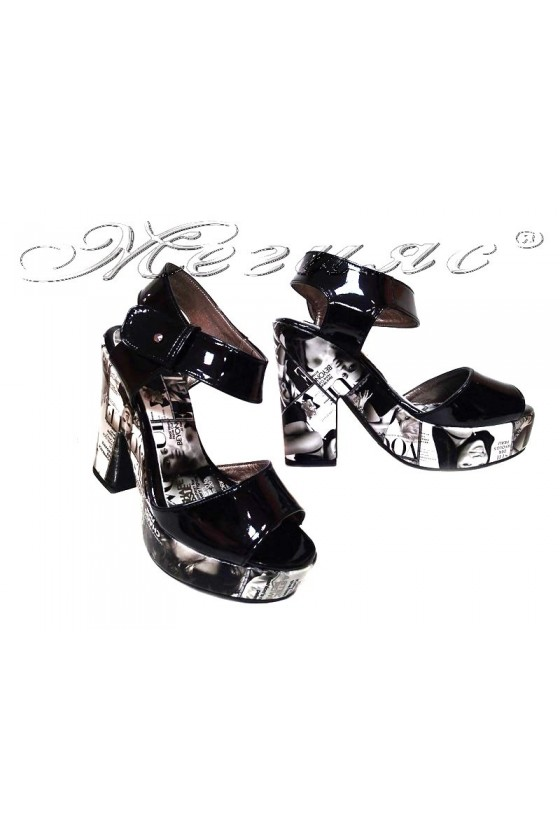 Ladies high heel sandals 984 casual black patent+pu