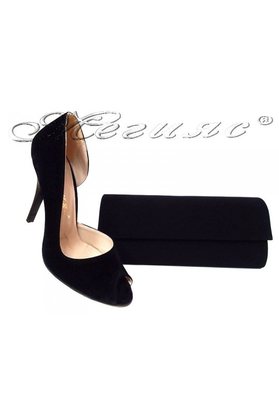 Ladies high heel shoes 606 black suede elegant + bag 373