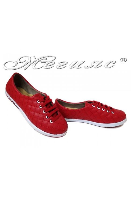 Women sport shoes 504 red pu