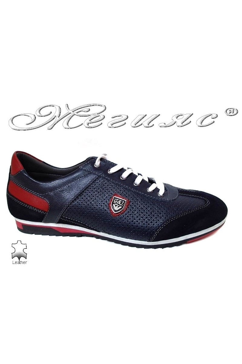 Men sport shoes 716 dark blue + red all leather