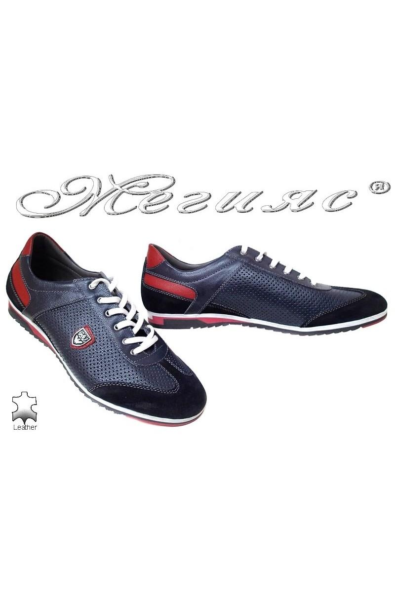 Мъжки обувки 716 тъмно синьо + червено спортни естествена кожа