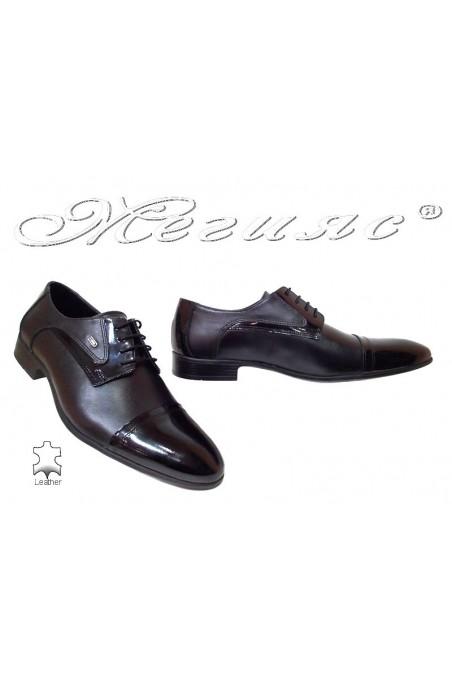 Мъжки обувки Фантазия 118-0-1 А черни естествена кожа+лак връзки елегантни