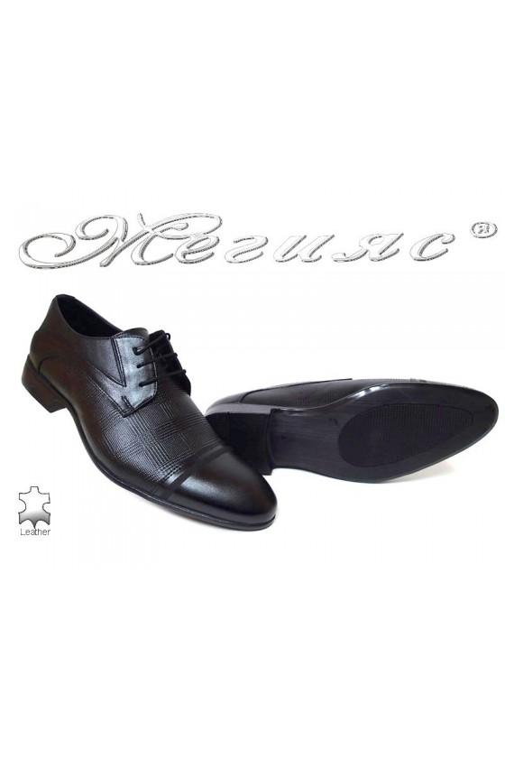 Men formal shoes Fantasia 113-333 black all leather