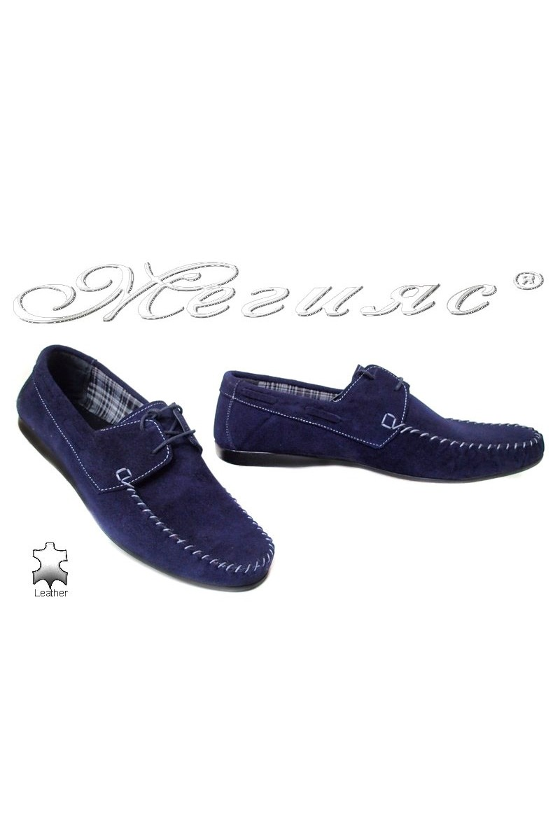 Men casual shoes ATO 050 blue nubuck
