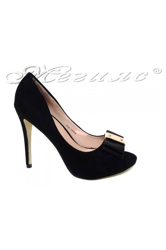 Дамски обувки EKAY 155516 черни еко велур елегантни висок ток