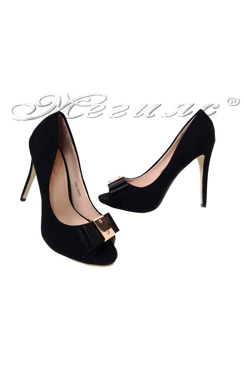 Women elegant shoes EKAY 155516 black suede high heel
