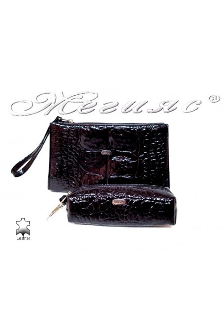 Комплект -064-207 черно естествена кожа + лак