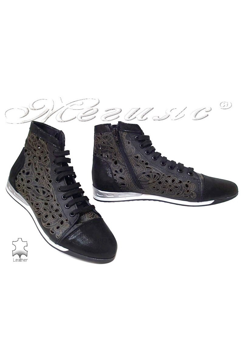 Women sport boots 1580 black casual all leather