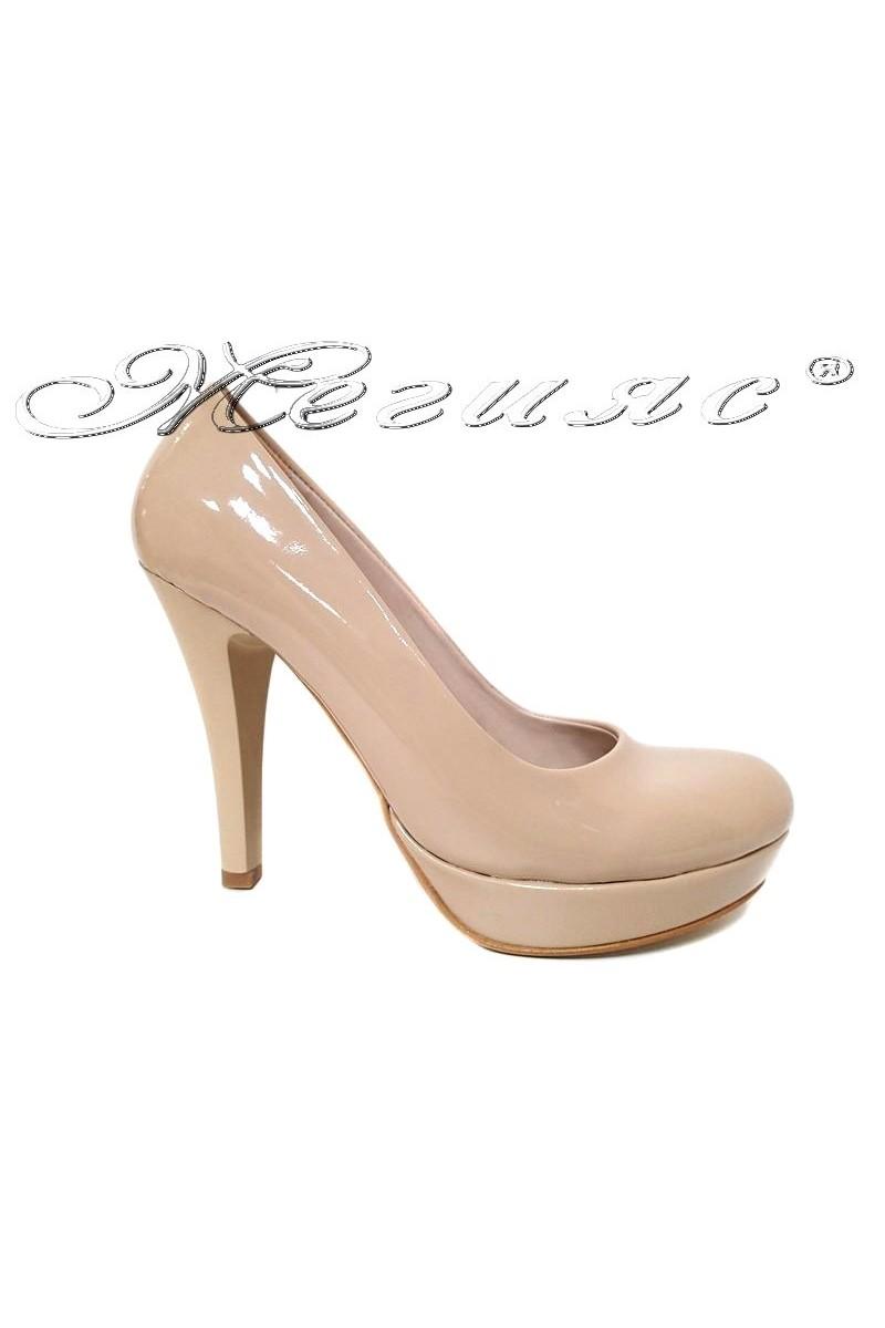 Ladies high heel shoes 01703 elegant beige patent
