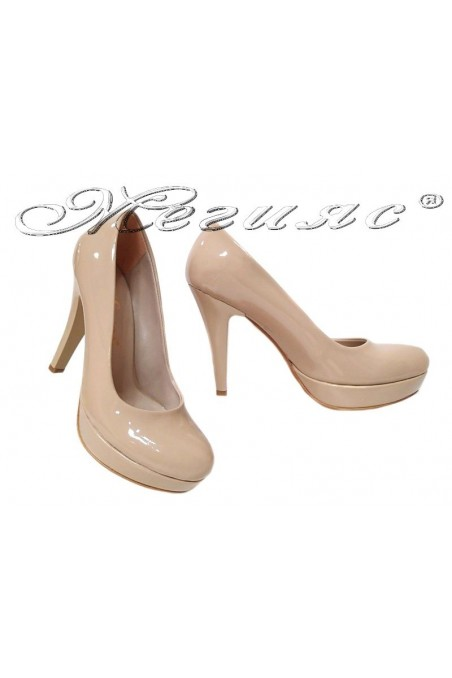 Ladies high heel shoes 01703 elegant beige patent