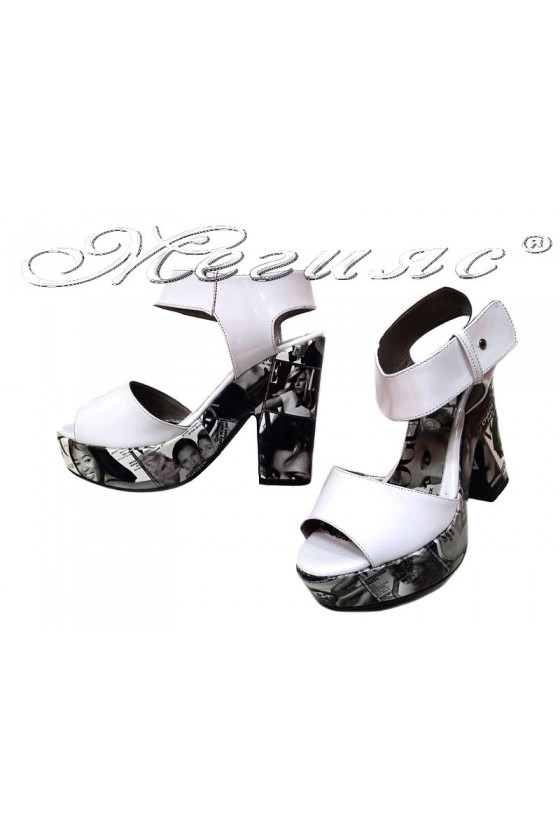 Ladies high heel sandals 984 casual white patent+pu