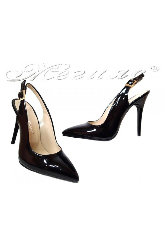 Women high heel sandals 2020 black patent elegant
