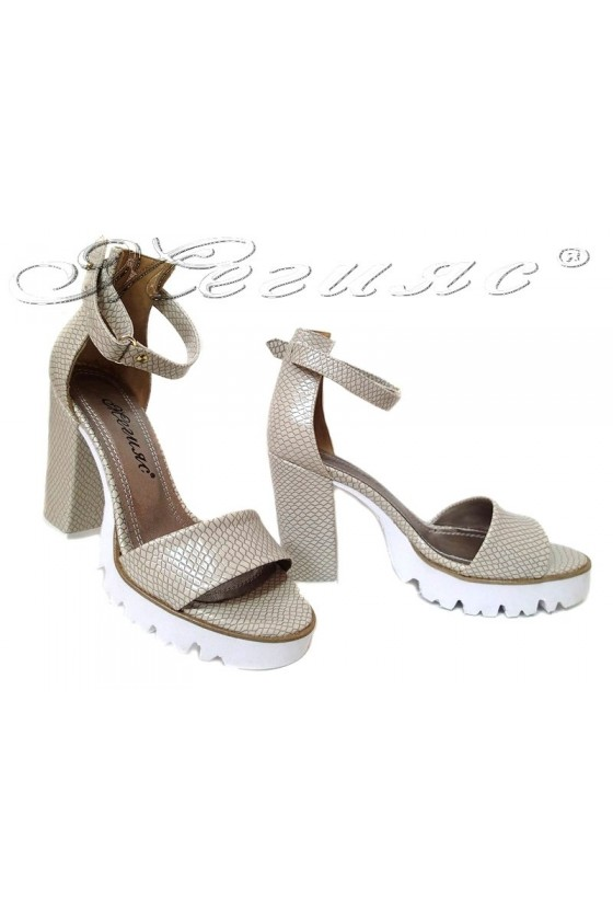 Women high heel sandals 1430 casual beige snake pu