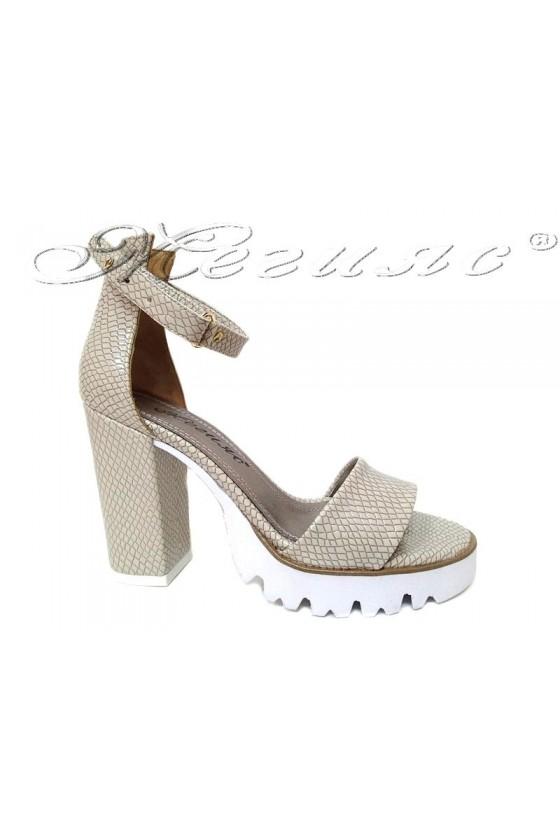 Women high heel sandals 1430 casual beige snake pu
