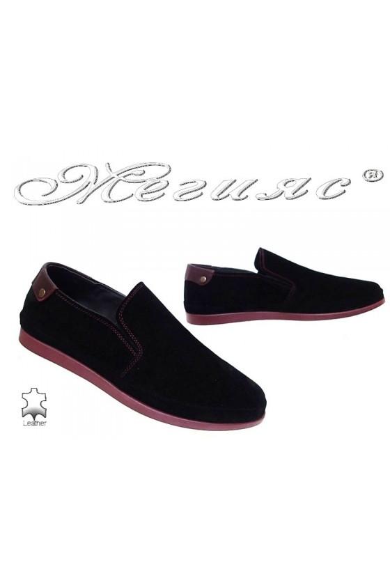 Mъжки обувки 007 черни естествен велур ежедневни