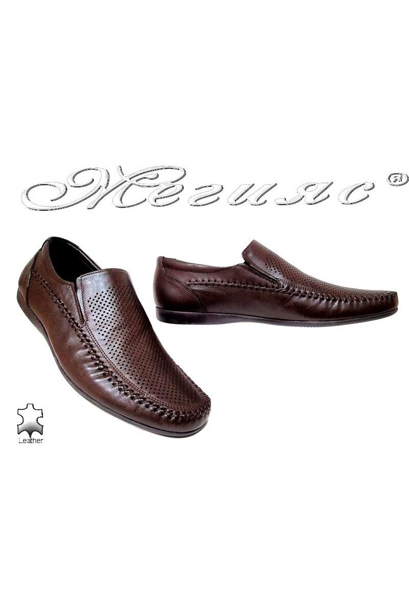 Мъжки обувки Фантазия 605-58 кафяви естествена кожа дупки ежедневни