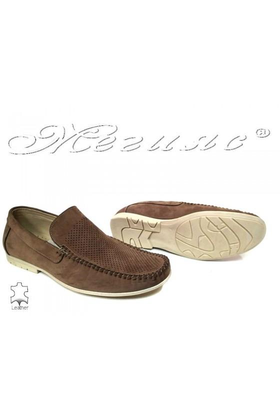 Men casual shoes Fantazia 607-58 beige nubuck perforation