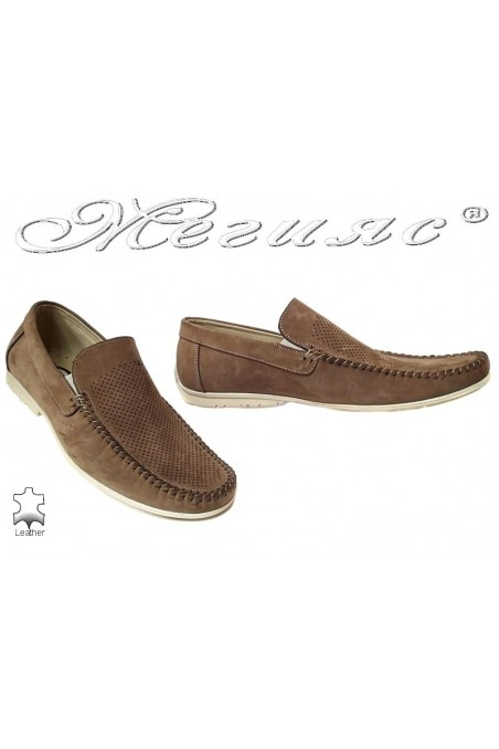 Men casual shoes Fantazia 607-58 beige nubuck perforation