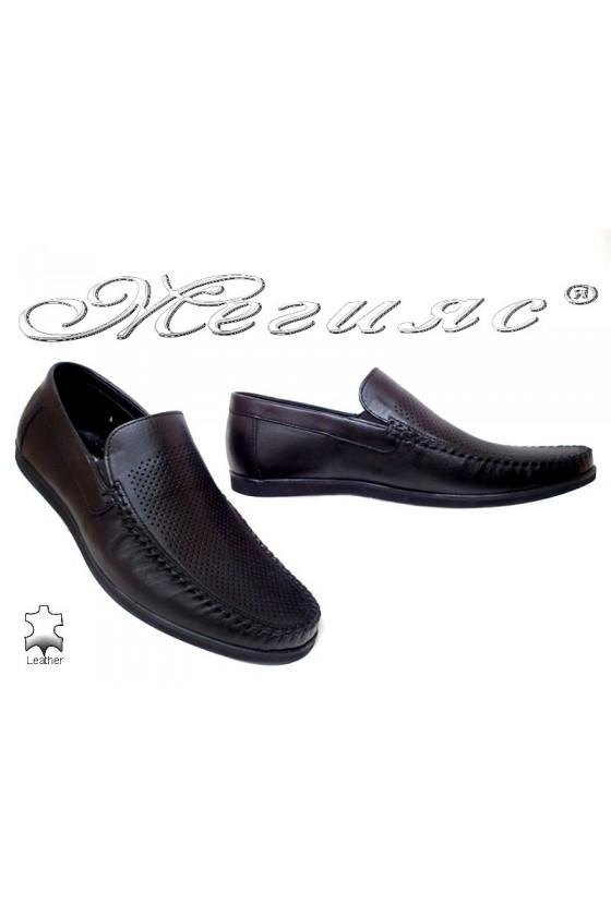 Мъжки обувки Фантазия 607-58 черни естествен кожа ежедневни перфорация