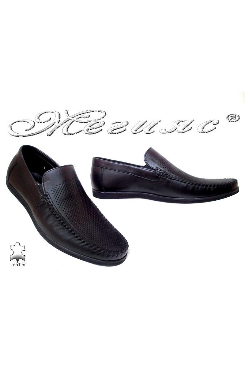 Men casual shoes FANTAZIA 607-58 black leather perforation