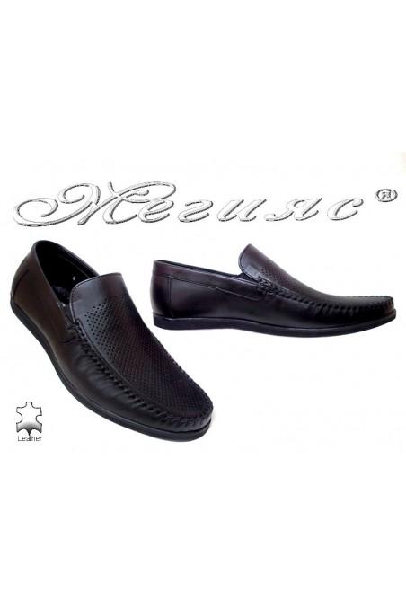 Men casual shoes FANTAZIA 607-58 black leather perforation