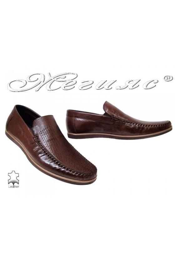 Мъжки обувки Фантазия 607-58 кафяви естествен кожа ежедневни перфорация