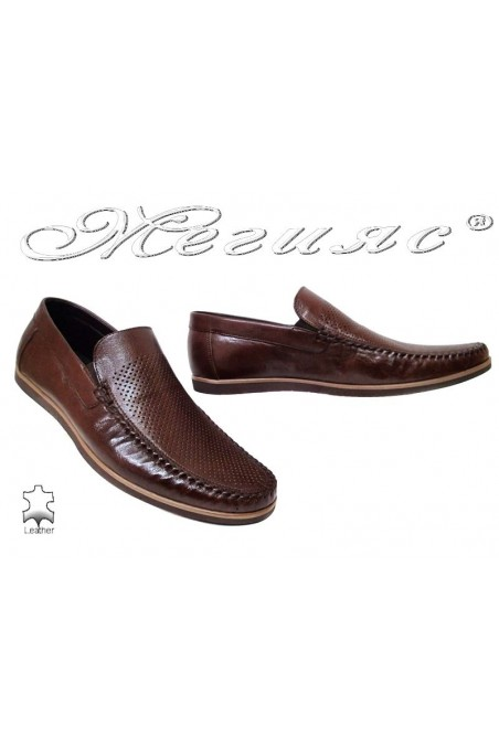 Men casual shoes FANTAZIA 607-58 brown leather perforation