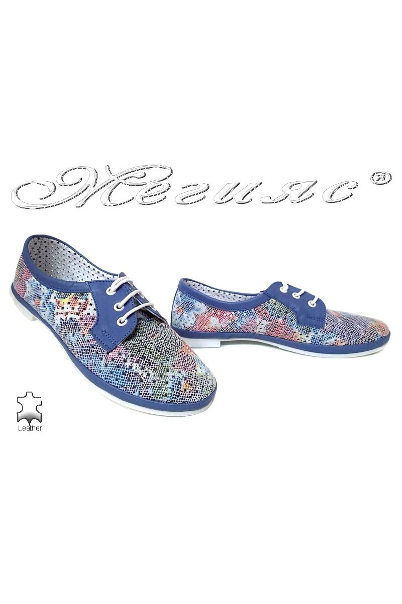 Women low heel shoes 01/65/771 XXL casual blue flowers leather giant