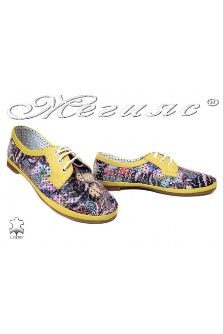 Women low heel shoes 01/65/771 XXL casual yellow flowers leather giant