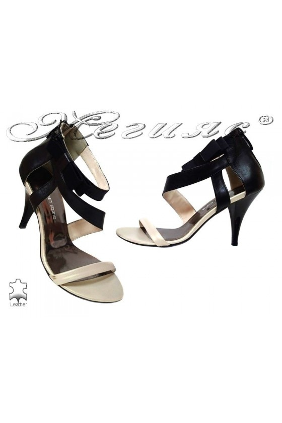 Ladies middle heel sandals 3433 black+beige elegant leather