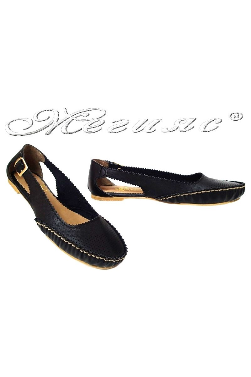 Women flat shoes ATO 206 casual black pu