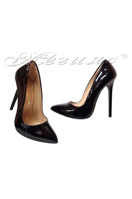 Lady elegant shoes 301 black patent high heel