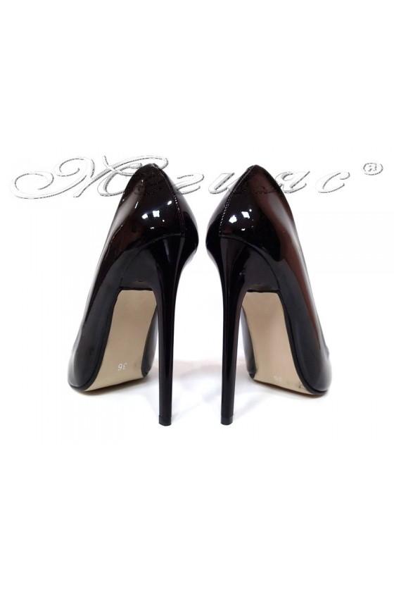 Lady elegant shoes 301 black patent high heel