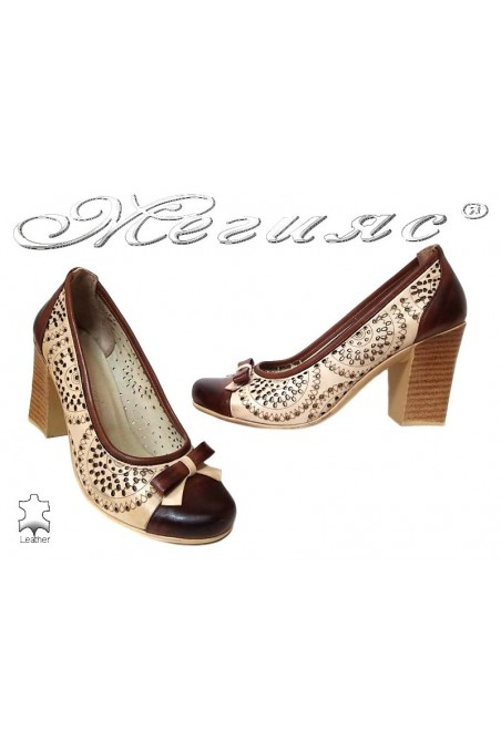 Women middle heel shoes 551-206 beige+brown all leather perforation quarters