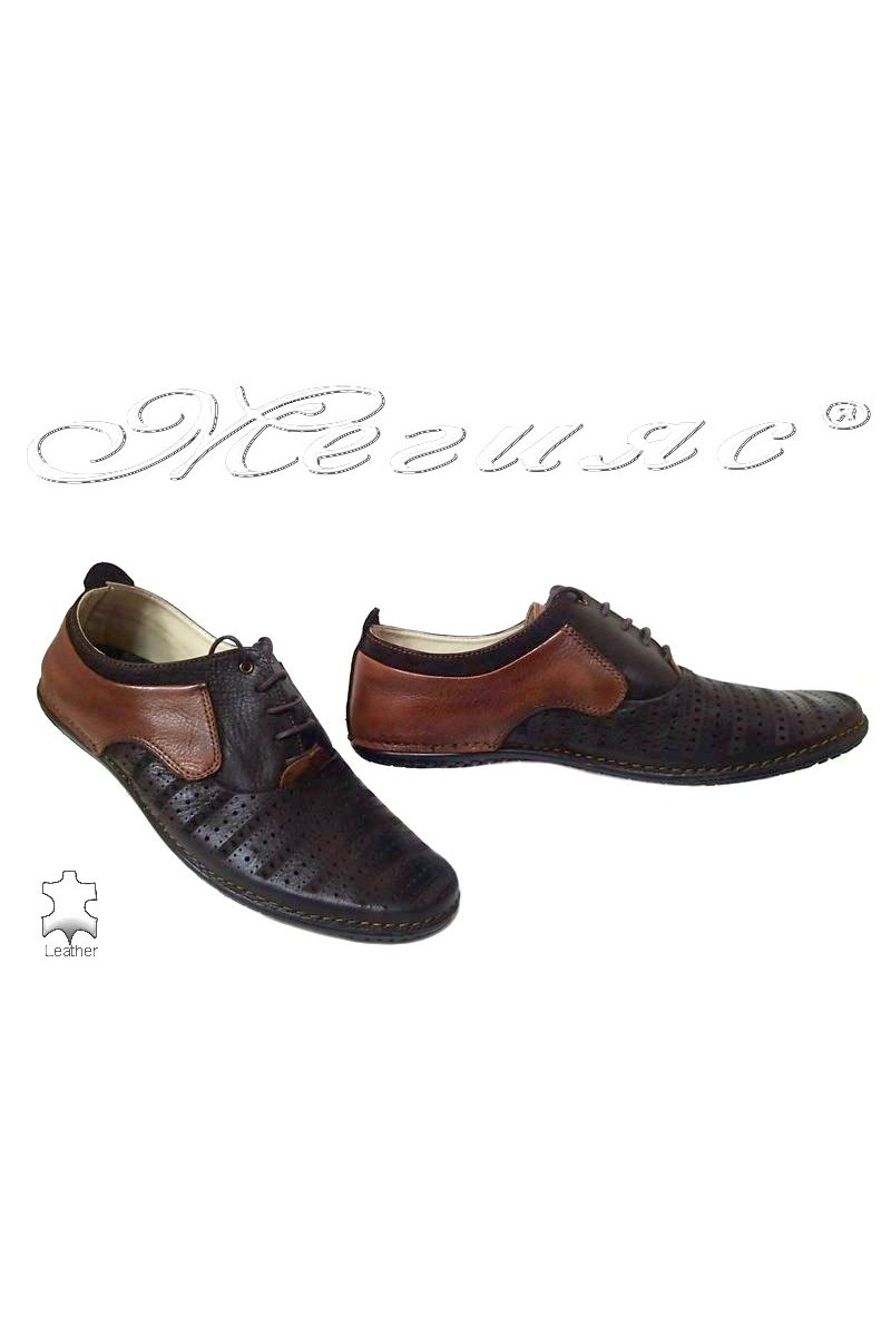Men casual shoes 115 brown+tab leather perforation